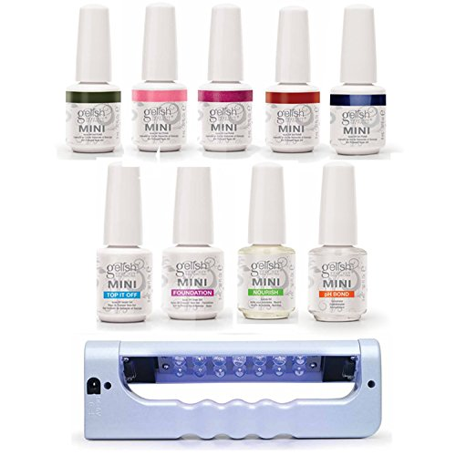 Gelish Mini 5 Color LED Soak Off Gel Polish Starter Kit + Portable Curing Lamp (Mini Gelish Nail Polish Colors compare prices)