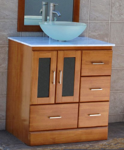 "30"" Bathroom Vanity Cabinet , white Granite top, Sink Faucet M11-Cinnamon finish"