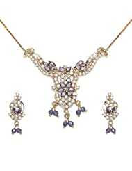 14.00 Grams Purple Cubic Zirconia & White Cubic Zirconia Gold Plated Brass Pendant Set