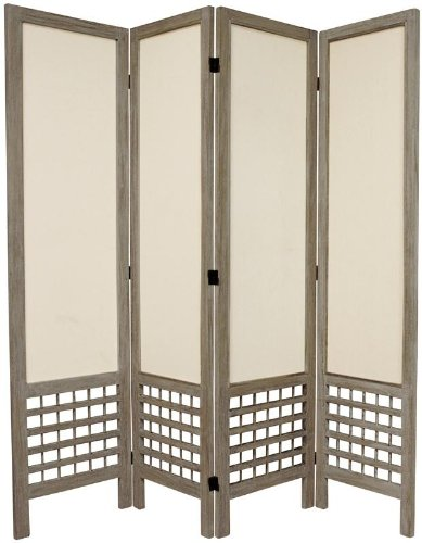 Low Price High Quality Room Divider - 5.5ft. Open Lattice Bottom Fabric Shade Folding Floor Screen Partition 4 Panel Distressed Grey