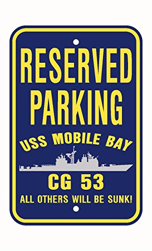 USS MOBILE BAY CG 53 Parking Sign Aluminum Navy Blue / Yellow 12