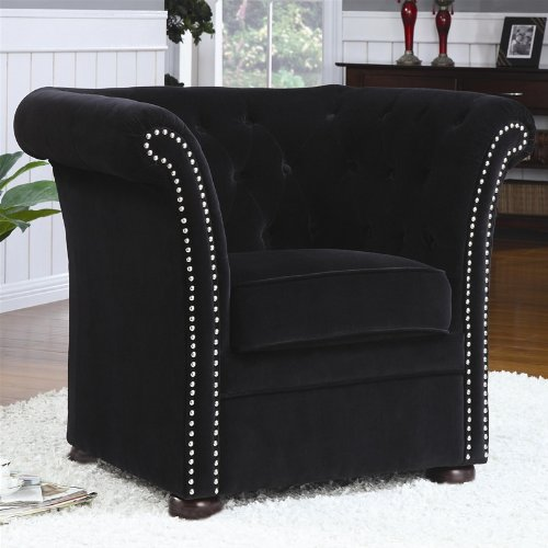 accent chair with button tufted nail head trim in black finish