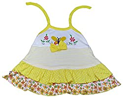 Amykids Baby Girls' Noodle Strap Frock (766g-y, Yellow, 3 - 6 Months)