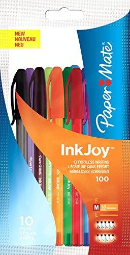 paper-mate-inkjoy-100-ballpoint-pen-10-tip-07mm-line-assorted-ref-s0957191-pack-10