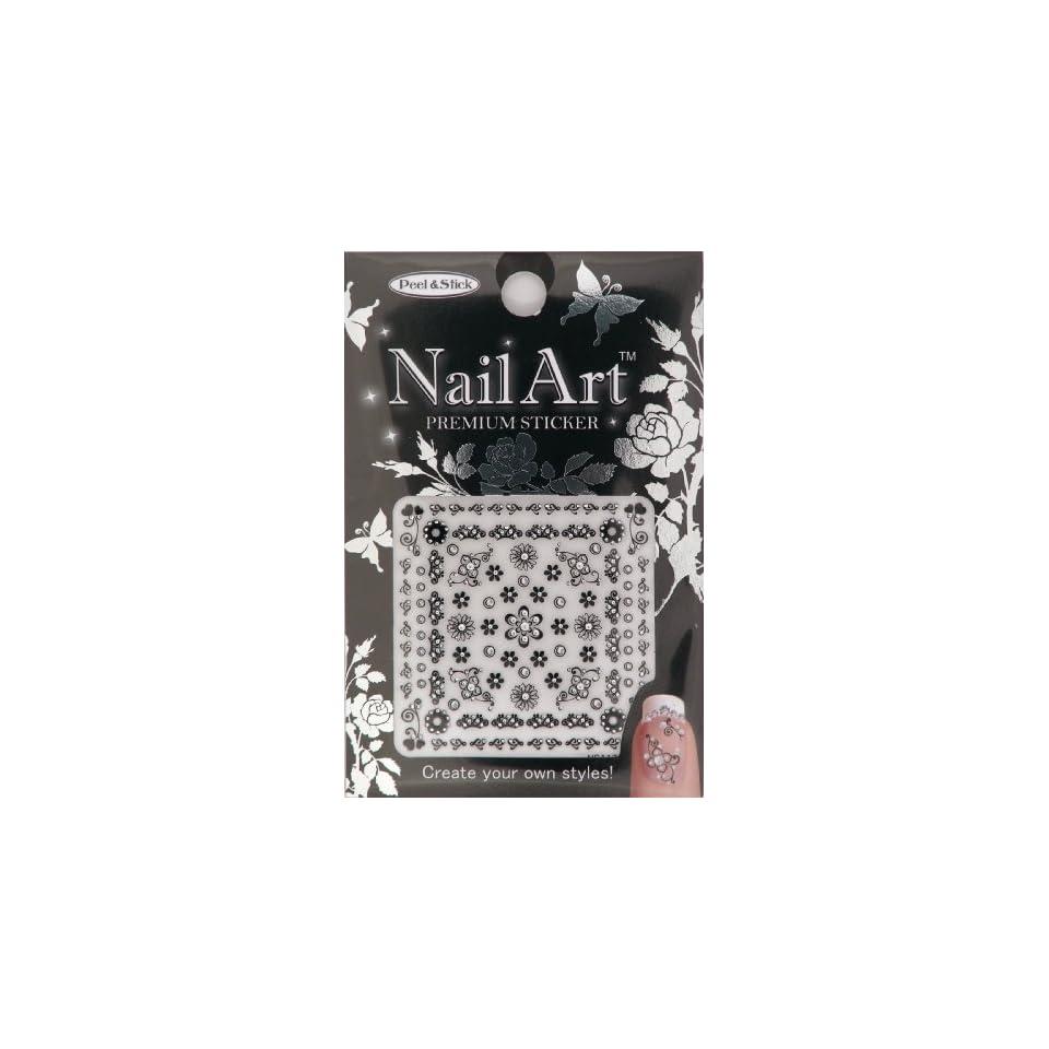Nail Art Sticker Floral Design NSA 17 Black