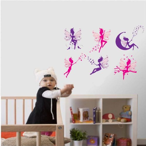 PeelCo Fairy Princess Pink and Purple Wall Decal Sticker for Nursery Room