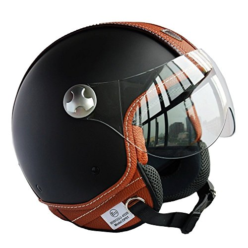 PEDA Italian Design (MOCA B) ECE DOT Motorcycle Helmet,Unisex Open Face ITALY Jet Sport Urban Vintage CASCOS,Leather Style,Capacete,Half Helmet (Medium)