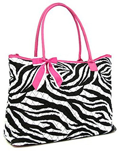 Large Quilted Zebra Print Tote Shopping Bag Shoulder Purse