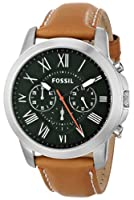 Fossil Men's FS4918 Grant Chronograph Stainless Steel Watch with Tan Leather Band by Fossil