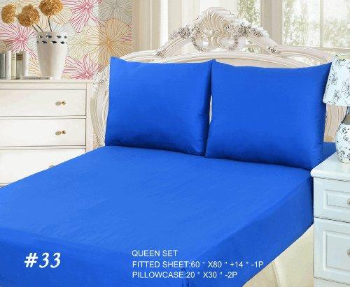 Tache 3 Piece 100% Cotton Bed Sheet Set Blue Fitted Sheet ,Queen front-665426