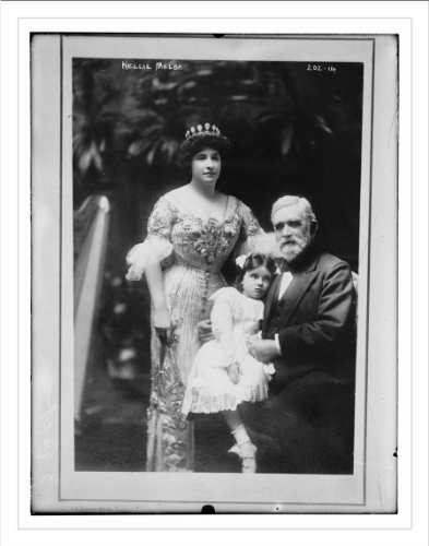 Newswire Photo (L): Nellie Melba, her father, David Mitchell, and a young girl, in Melbourne, Australia