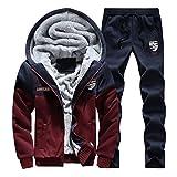 SemiAugust(セミオーガスト)メンズ 冬用  厚いジャケット ロングパンツ 保温 高級コットン 快適 フィットネス ミクスカラー 男性用 カラーはレッド サイズは2XL