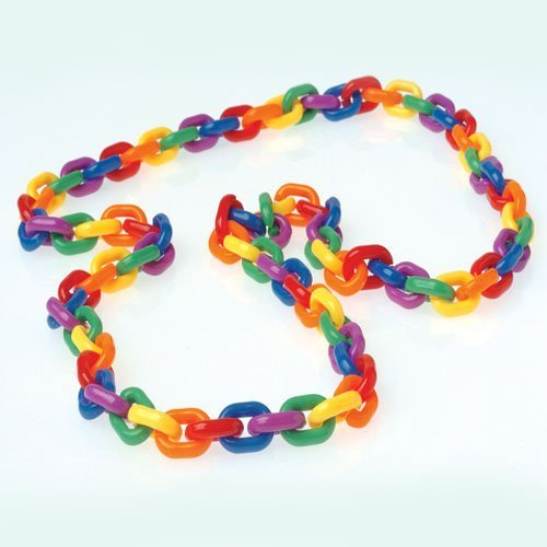 One Large Rainbow Chain Link Bead Type Plastic Necklace - 1