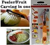 Papaya peeler fruit vegetable carving zig zag blade culinary art tool.