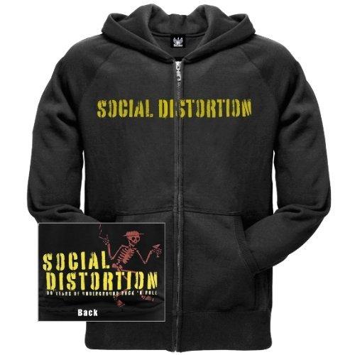 Old Glory Mens Social Distortion - Spray Paint Zip Hoodie - Small Black