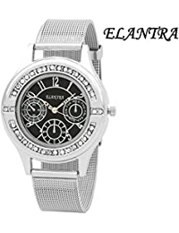 Elantra Black Dial Saffire Chain Analog Watch EL2504SM01
