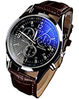 Bocideal New Mens Luxury Faux Leather Blue Ray Glass Watches