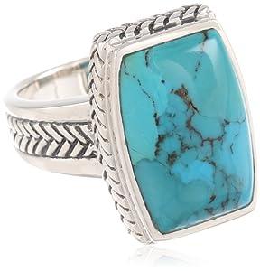 """Barse """"Basics"""" Genuine Turquoise Roped Ring"""