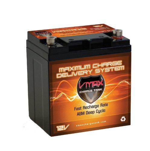 Vmax V30-800 Agm Battery 28Ah Marine Rv Deep Cycle Hi Performance Batteries Ideal For Boats And 18-30Lb Minn Kota, Minnkota, Cobra, Sevylor And Other Trolling Motor