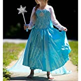 Frozen Inspired Elsa Snowflake Dress w/Train, Light Up Snowflake Wand & Our Band