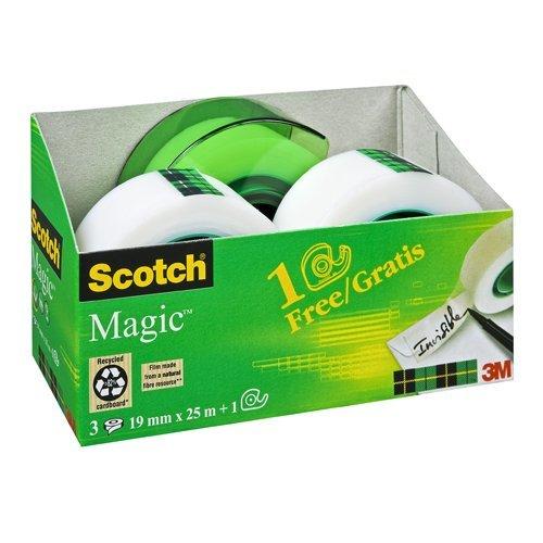 Scotch-AAMT-3-Klebeband-Magic-810-Promotion-3-Rollen-Klebefilm-19-mm-x-25-m-Handabroller-gratis