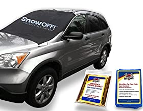 SnowOFF Car Windshield Snow Cover - New Contoured Shape w/ 8 Magnets, Wings and Suction Cups Secure Automotive Hood Covers in Place + Bonus Microfiber Drying Chamois Glass Cleaner + Emergency Rescue Blanket - Throw Away Your Ice Scrapers and Snow Brushes - Fits Cars and CRVs