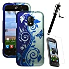 MINITURTLE, Slim Fit 2 Piece Graphic Image Snap On Hard Phone Case Cover, Stylus Pen, and Screen Protector for Prepaid Android Smartphone ZTE Majesty Z796C /Straight Talk (Blue / Silver Vine)