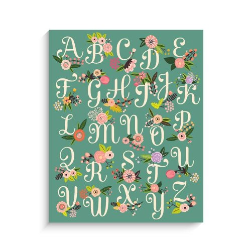 "Lucy Darling Floral ABC Print Wall Decor, Green, 8"" x 10"" - 1"
