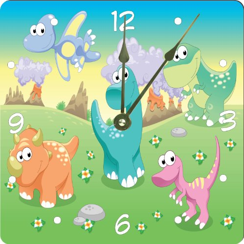 "Rikki Knighttm Dinosaurs Family With Background Design 6"" Art Desk Clock front-589498"