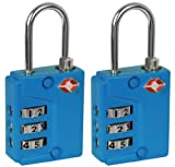 IVATION! 3 Dial TSA Approved Combination Luggage lock (With Instant Alert Red Tab Indicator If opened By TSA) Blue - 2 Pack