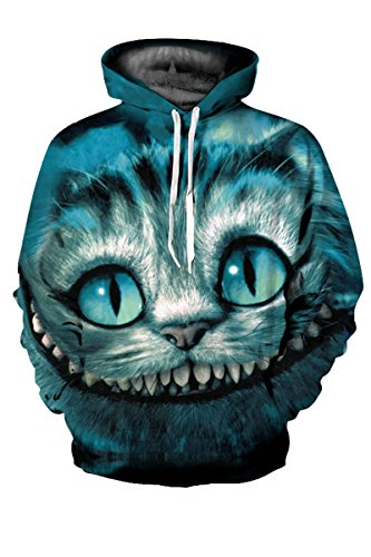 Haloon Unisex Simulation Printed Galaxy Pocket Drawstring Hooded Sweatshirt Cheshire cat M (Cool Printed Hoodies compare prices)