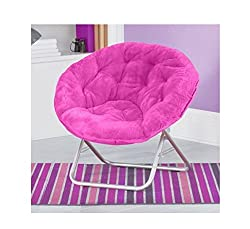 Very Comfortable Mainstays Faux-Fur Saucer Chair Pink