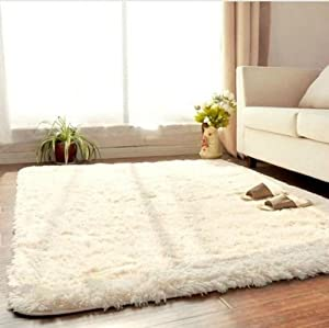 Soft Living Dining Bedroom Flokati Shaggy Ivory Wool Rug Anti-skid Carpet by buytra