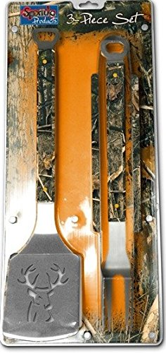 Universal Camo Buck 3PC BBQ Set, Heavy Duty Stainless Steel Grilling Tools (Camo Bbq compare prices)