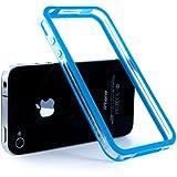 Bumper coque de contour avec boutons effet métalique pour iPhone (iPhone 4/4S, Bleu/Transparent)