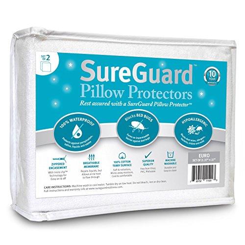 Set of 2 Euro Size SureGuard Pillow Protectors - 100% Waterproof, Bed Bug Proof, Hypoallergenic - Premium Zippered Cotton Terry Covers - 10 Year Warranty