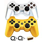 PS3 Controllers for Playstation 3 Dualshock Six-axis, Wireless Bluetooth Remote Gaming Gamepad Joystick Includes USB Cable (Sliver and Gold,Pack of 2) (Color: Sliver and Gold)