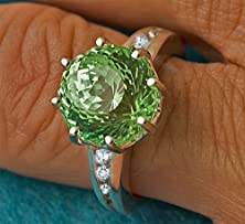 buy Unique Engagement Ring, Green & White Sapphire Statement Ring