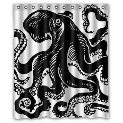 Black White Tattoo octopus Shower Curtain