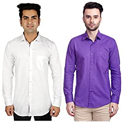 Nimegh Purple, White Color Cotton Casual Slim fit Shirt For men's (Pack of 2)