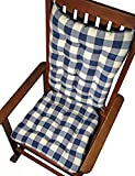 Rocker Cushion Set - Vignette Blue Buffalo Check Plaid - Standard Size - Seat Cushion and Back Rest - Reversible, Latex Foam Fill - Made in USA