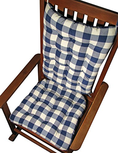 Rocker Cushion Set Vignette Blue Buffalo Check Plaid