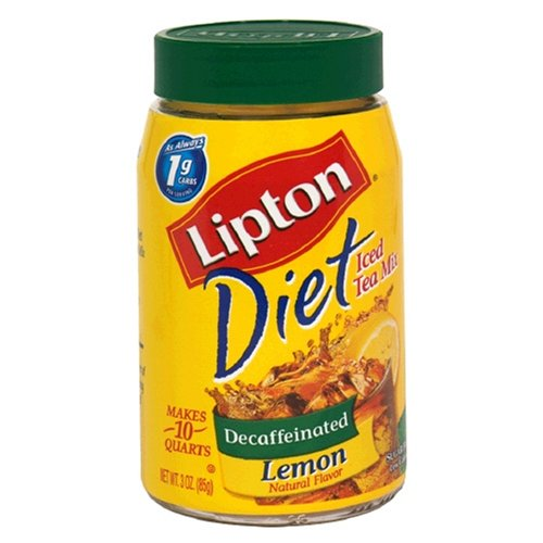 Lipton Diet Decaf Instant Tea Mix, Lemon 3-Ounce (Pack of 6)