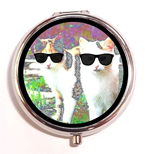 Psychedelic Cat Sunglasses Neon Rave Pop Art Animal Festival Hippie Pill Box Pill Case
