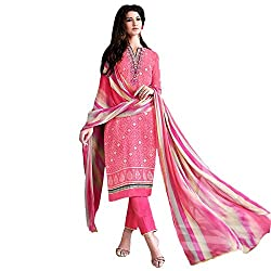 Meera Women's Unstitched Dress Material (Teaz6_Pink)