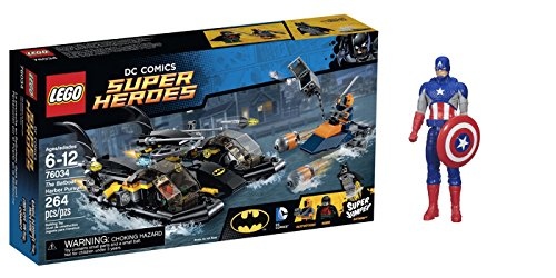 LEGO Super Heroes the Batboat Harbor Pursuit 264 Pcs & free Gifts Super Hero Adventures Series Captain America (Colors may vary) Toys