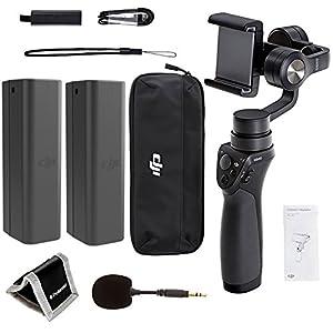 DJI Phone Camera Gimbal OSMO MOBILE, Spare DJI Osmo Intelligent Battery, DJI FM-15 Flexi Microphone Polaroid, Memory Card Wallet and Accessory Bundle