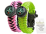 A2S Survival Gear Kit Paracord Bracelet for Girls Colorful Everest Series with built-in New Type Compass, Fire Starter, Emergency Knife & Whistle - Pack of 2 - (Pink / Light Green)