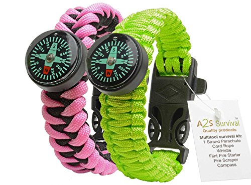 A2S Survival Gear Kit Paracord Bracelet for Girls Colorful Everest Series with built-in New Type Compass, Fire Starter, Emergency Knife