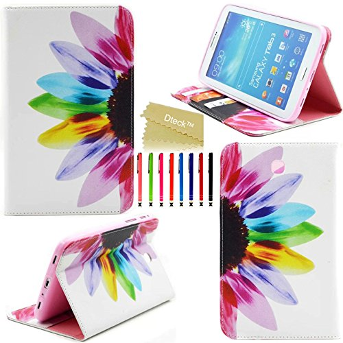 Tab 3 7.0 Case, Model P3200 P3210 T210 T211 Case, Dteck(TM) Stylish Portable Protective Slim Flip Folio PU Leather Stand Case Cover for Samsung Galaxy Tab 3 7.0 inch Tablet (#01 Rainbow Flower)